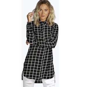 Boohoo grid button down top